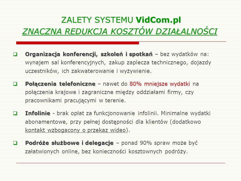 ZALETY SYSTEMU VidCom.pl ZNACZNA REDUKCJA KOSZTÓW DZIAŁALNOŚCI