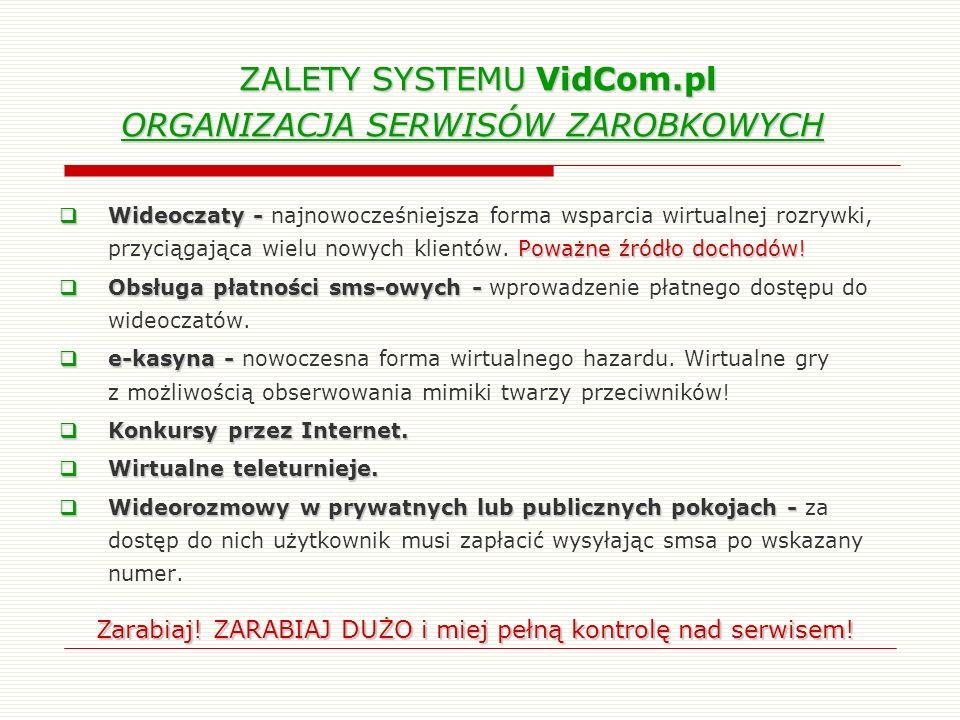 ZALETY SYSTEMU VidCom.pl ORGANIZACJA SERWISÓW ZAROBKOWYCH