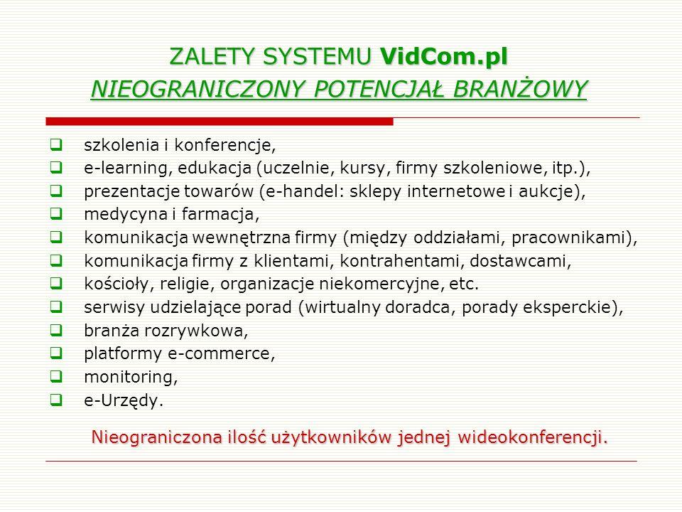 ZALETY SYSTEMU VidCom.pl NIEOGRANICZONY POTENCJAŁ BRANŻOWY