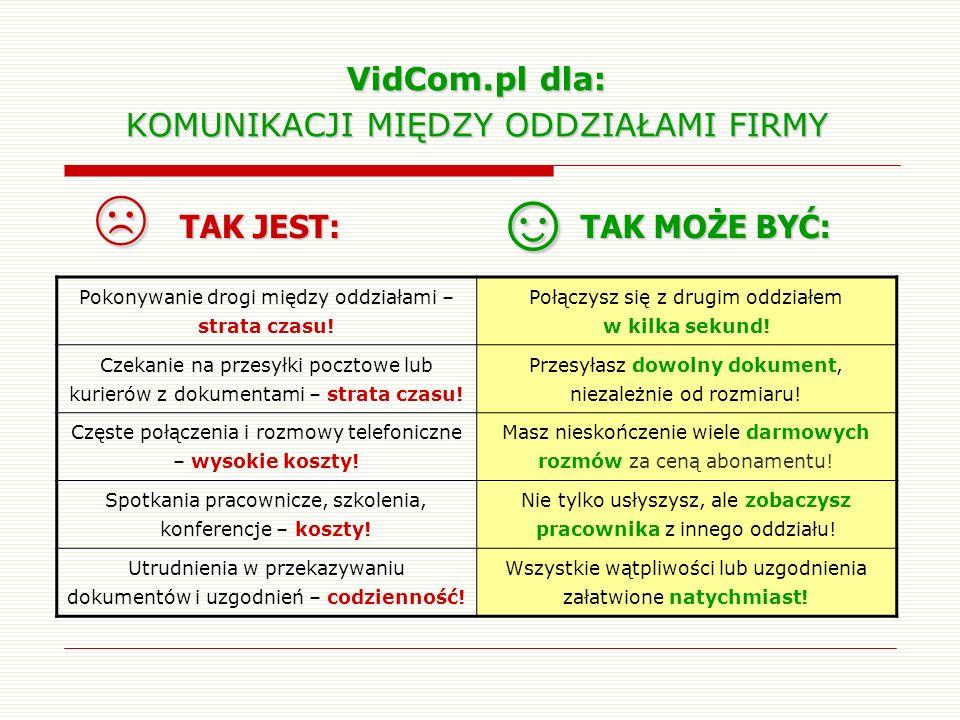 VidCom.pl dla: KOMUNIKACJI MIĘDZY ODDZIAŁAMI FIRMY