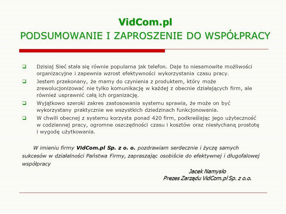 VidCom.pl PODSUMOWANIE I ZAPROSZENIE DO WSPÓŁPRACY