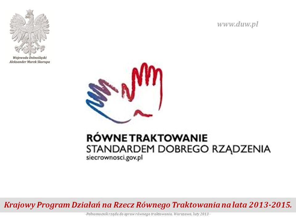 -Pełnomocnik rządu do spraw równego traktowania, Warszawa, luty 2013 -