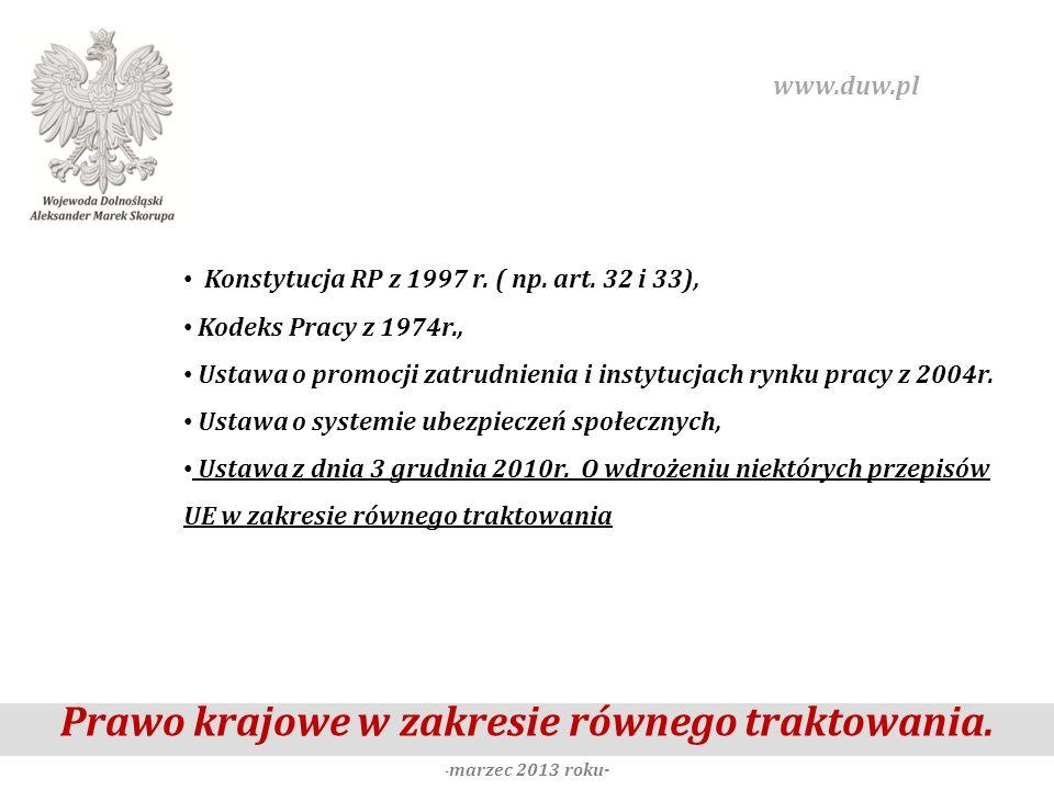Prawo krajowe w zakresie równego traktowania. -marzec 2013 roku-