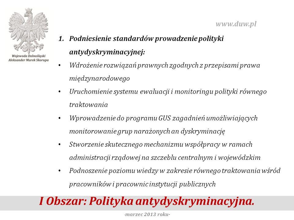 I Obszar: Polityka antydyskryminacyjna. -marzec 2013 roku-