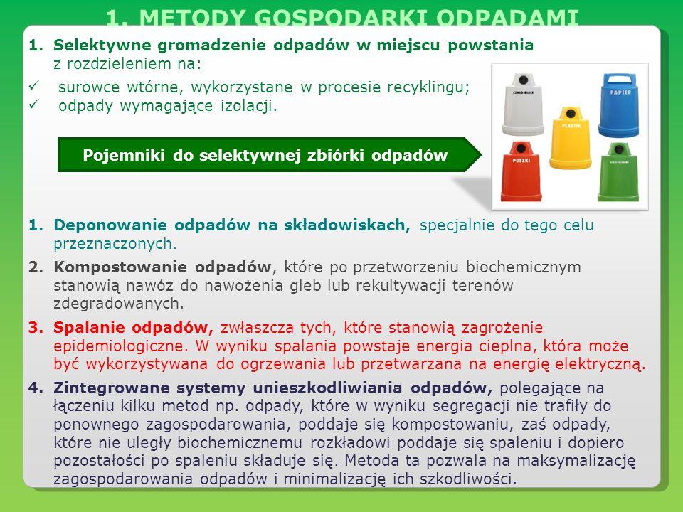 METODY GOSPODARKI ODPADAMI Pojemniki do selektywnej zbiórki odpadów