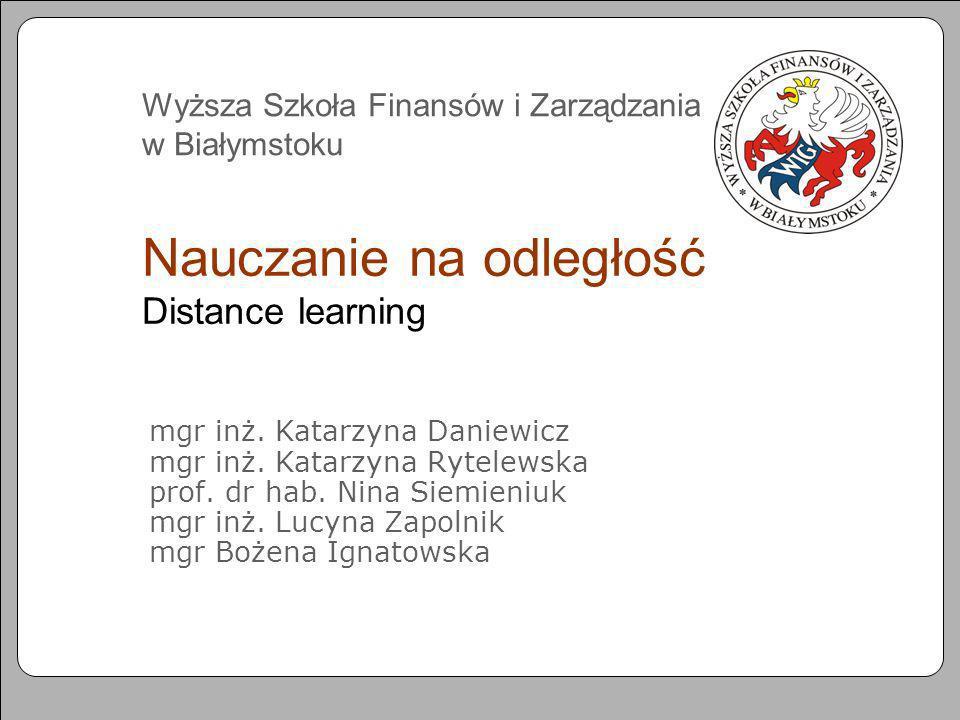 Nauczanie na odległość Distance learning
