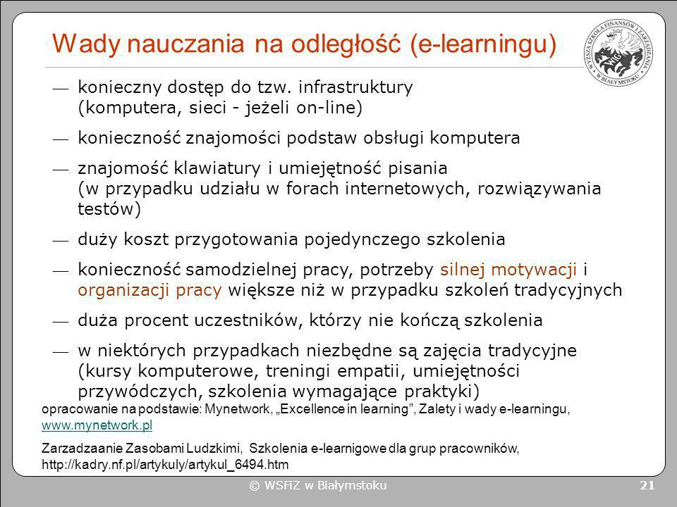 Wady nauczania na odległość (e-learningu)