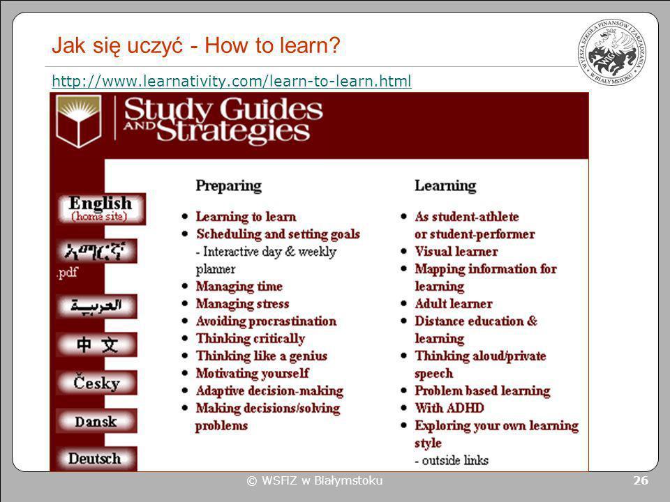 Jak się uczyć - How to learn