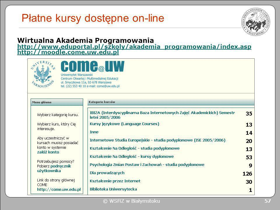 Płatne kursy dostępne on-line