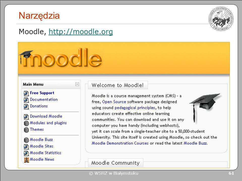 Narzędzia Moodle, http://moodle.org © WSFiZ w Białymstoku