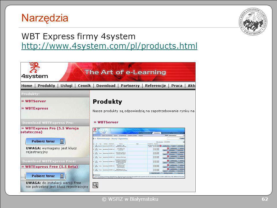 Narzędzia WBT Express firmy 4system http://www.4system.com/pl/products.html © WSFiZ w Białymstoku