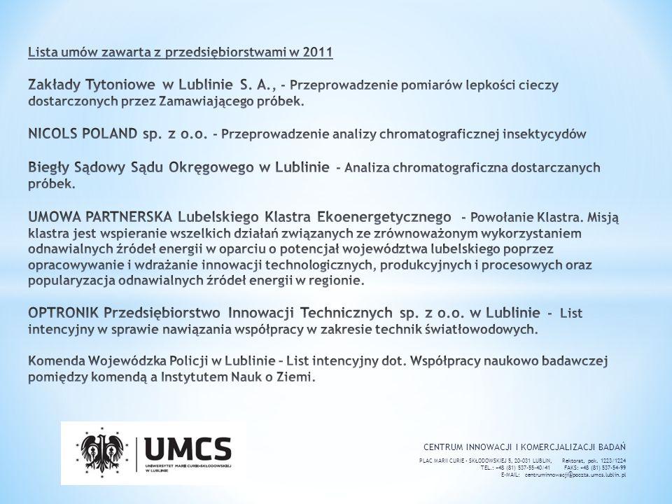 Lista umów zawarta z przedsiębiorstwami w 2011 Zakłady Tytoniowe w Lublinie S. A., - Przeprowadzenie pomiarów lepkości cieczy dostarczonych przez Zamawiającego próbek. NICOLS POLAND sp. z o.o. - Przeprowadzenie analizy chromatograficznej insektycydów Biegły Sądowy Sądu Okręgowego w Lublinie - Analiza chromatograficzna dostarczanych próbek. UMOWA PARTNERSKA Lubelskiego Klastra Ekoenergetycznego - Powołanie Klastra. Misją klastra jest wspieranie wszelkich działań związanych ze zrównoważonym wykorzystaniem odnawialnych źródeł energii w oparciu o potencjał województwa lubelskiego poprzez opracowywanie i wdrażanie innowacji technologicznych, produkcyjnych i procesowych oraz popularyzacja odnawialnych źródeł energii w regionie. OPTRONIK Przedsiębiorstwo Innowacji Technicznych sp. z o.o. w Lublinie - List intencyjny w sprawie nawiązania współpracy w zakresie technik światłowodowych. Komenda Wojewódzka Policji w Lublinie – List intencyjny dot. Współpracy naukowo badawczej pomiędzy komendą a Instytutem Nauk o Ziemi.
