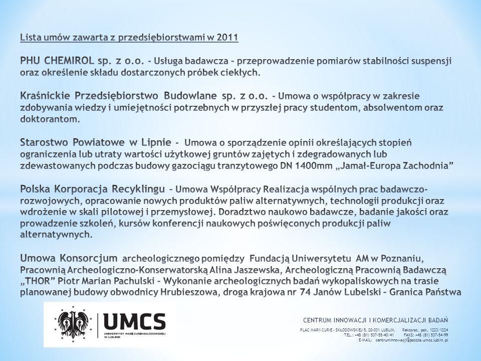 Lista umów zawarta z przedsiębiorstwami w 2011 PHU CHEMIROL sp. z o. o