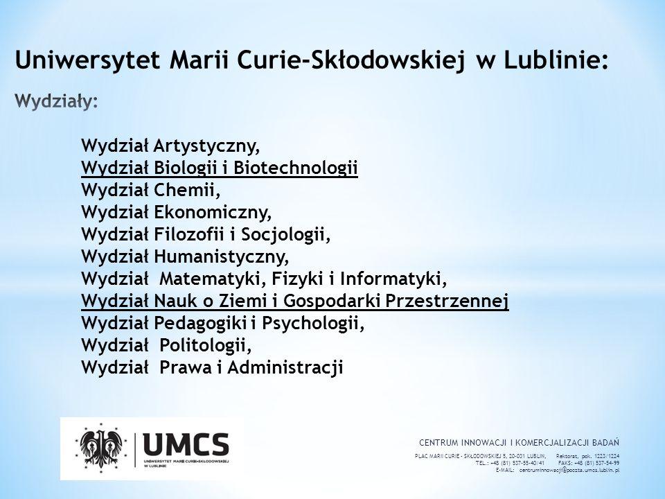 Uniwersytet Marii Curie-Skłodowskiej w Lublinie: Wydziały: