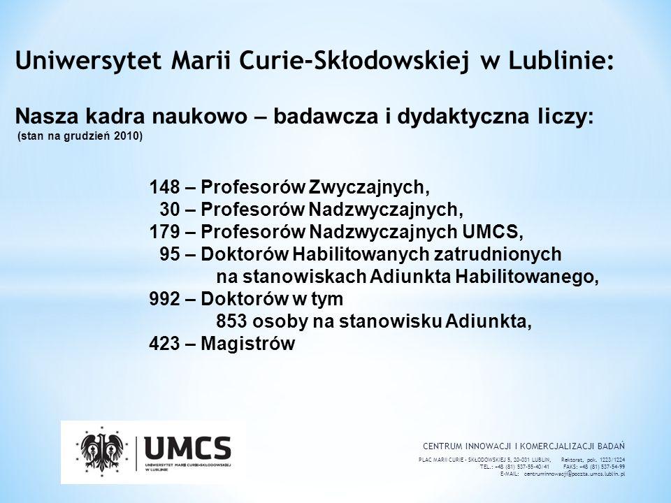 Uniwersytet Marii Curie-Skłodowskiej w Lublinie: Nasza kadra naukowo – badawcza i dydaktyczna liczy: (stan na grudzień 2010) 148 – Profesorów Zwyczajnych, 30 – Profesorów Nadzwyczajnych, 179 – Profesorów Nadzwyczajnych UMCS, 95 – Doktorów Habilitowanych zatrudnionych na stanowiskach Adiunkta Habilitowanego, 992 – Doktorów w tym 853 osoby na stanowisku Adiunkta, 423 – Magistrów