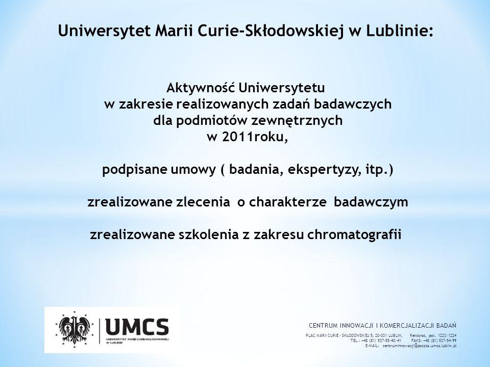 Uniwersytet Marii Curie-Skłodowskiej w Lublinie: Aktywność Uniwersytetu w zakresie realizowanych zadań badawczych dla podmiotów zewnętrznych w 2011roku, podpisane umowy ( badania, ekspertyzy, itp.) zrealizowane zlecenia o charakterze badawczym zrealizowane szkolenia z zakresu chromatografii