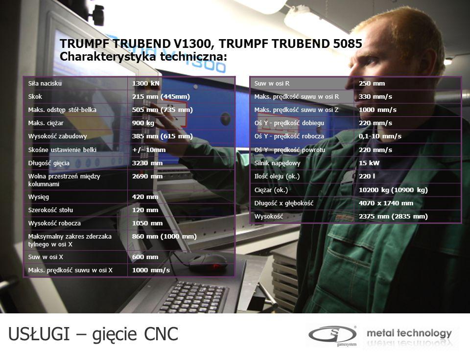 TRUMPF TRUBEND V1300, TRUMPF TRUBEND 5085 Charakterystyka techniczna: