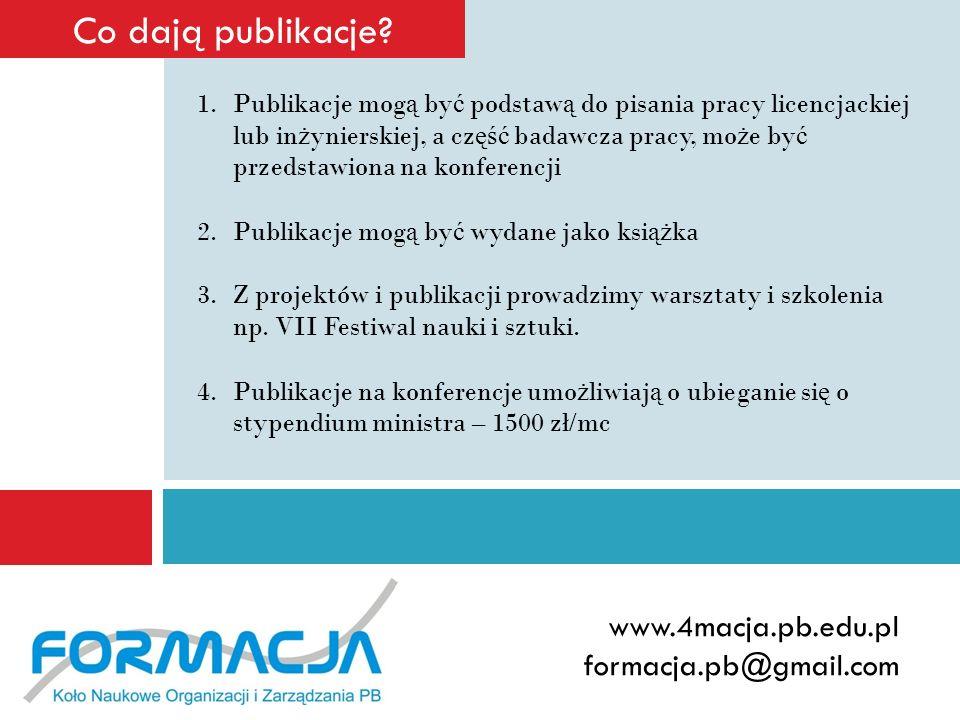 Co dają publikacje www.4macja.pb.edu.pl formacja.pb@gmail.com
