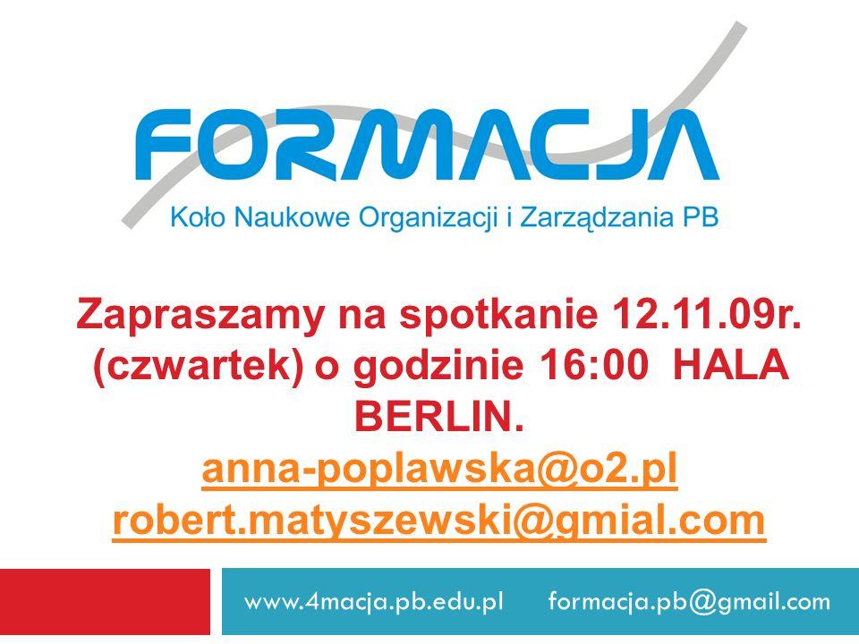 Zapraszamy na spotkanie 12. 11. 09r