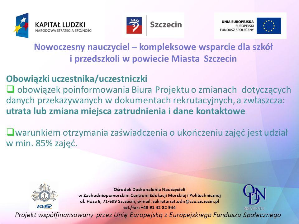 Obowiązki uczestnika/uczestniczki