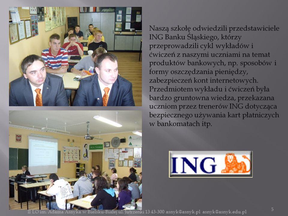 Naszą szkołę odwiedzili przedstawiciele ING Banku Śląskiego, którzy przeprowadzili cykl wykładów i ćwiczeń z naszymi uczniami na temat produktów bankowych, np. sposobów i formy oszczędzania pieniędzy, zabezpieczeń kont internetowych.