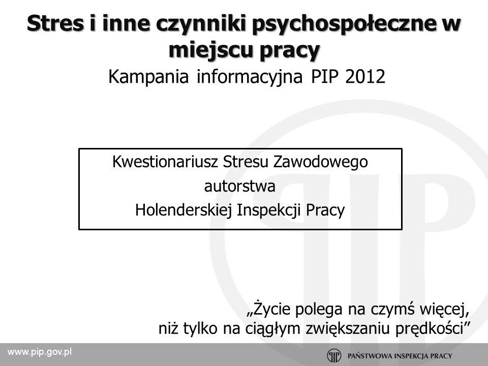 Stres i inne czynniki psychospołeczne w miejscu pracy Kampania informacyjna PIP 2012