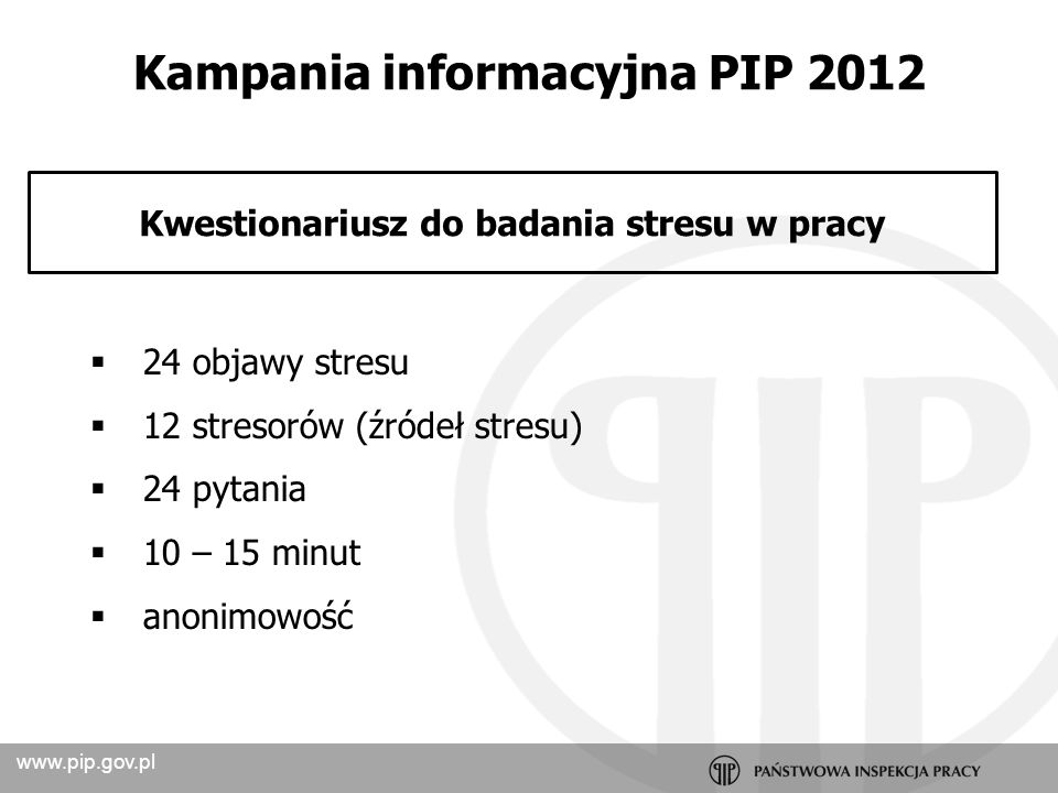 Kampania informacyjna PIP 2012