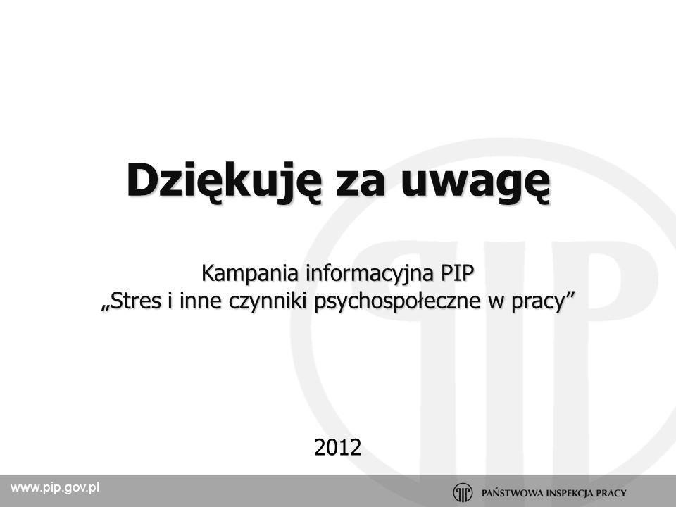 Dziękuję za uwagę Kampania informacyjna PIP