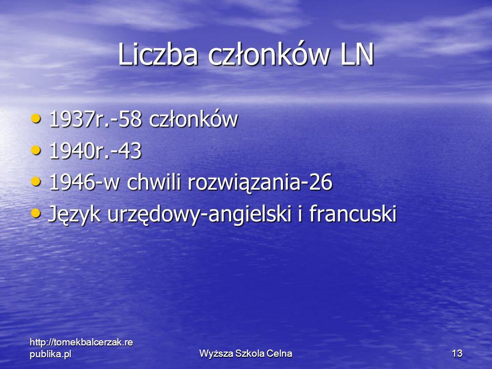 Liczba członków LN 1937r.-58 członków 1940r.-43