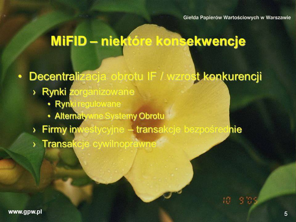 MiFID – niektóre konsekwencje