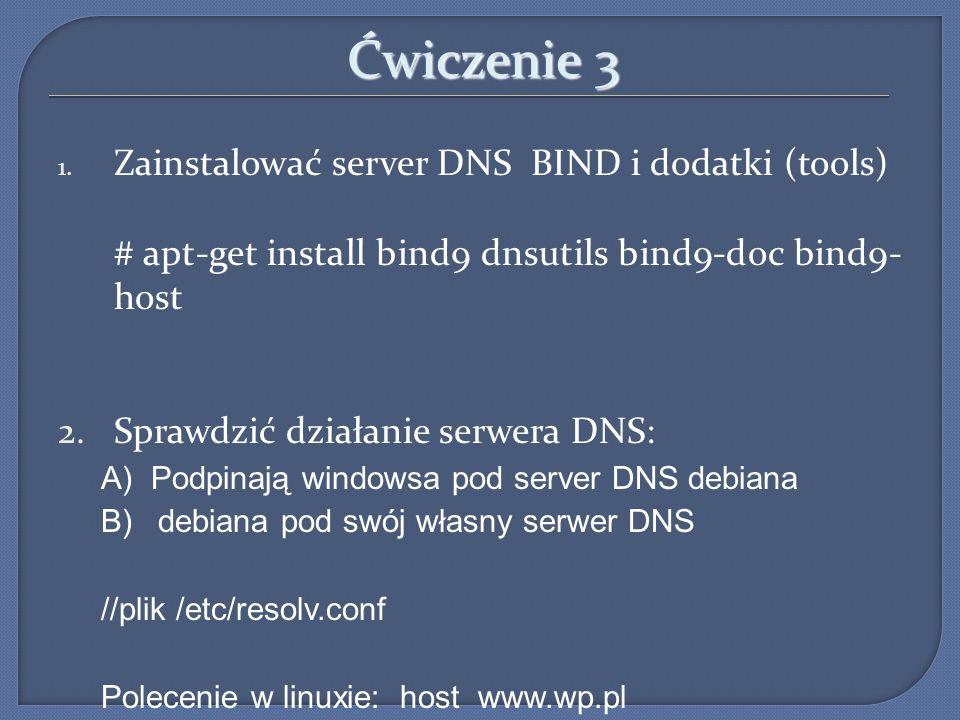 Ćwiczenie 3 Zainstalować server DNS BIND i dodatki (tools)