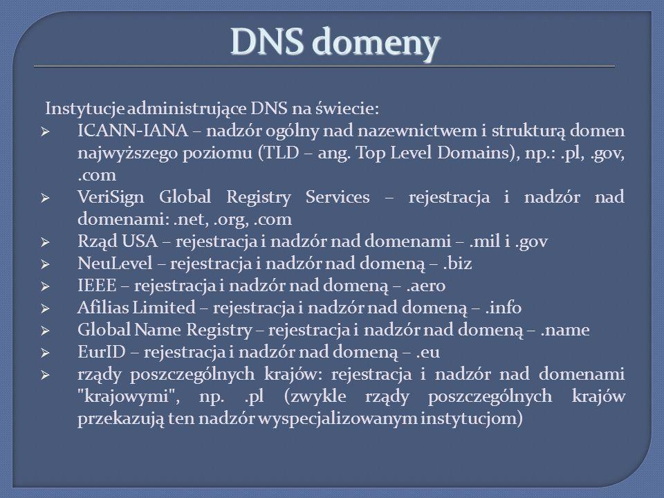 DNS domeny Instytucje administrujące DNS na świecie: