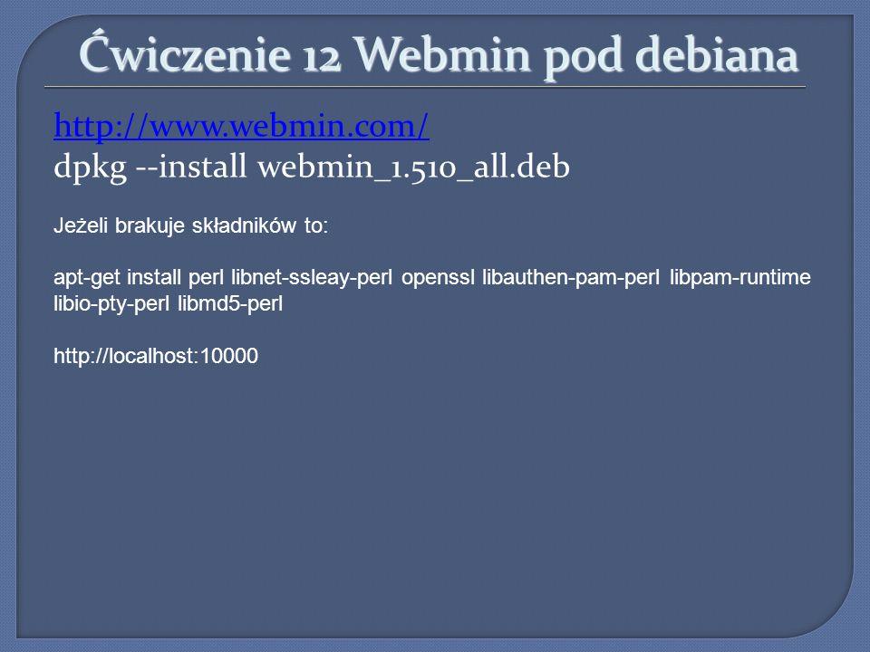 Ćwiczenie 12 Webmin pod debiana