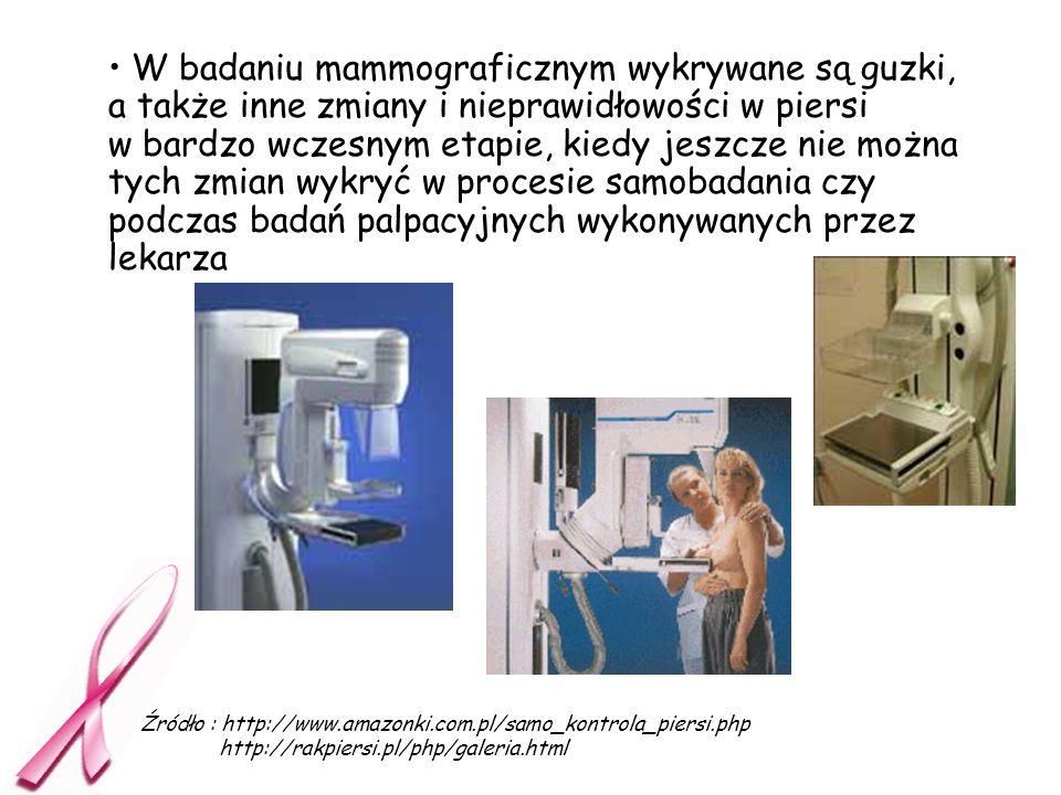W badaniu mammograficznym wykrywane są guzki, a także inne zmiany i nieprawidłowości w piersi w bardzo wczesnym etapie, kiedy jeszcze nie można tych zmian wykryć w procesie samobadania czy podczas badań palpacyjnych wykonywanych przez lekarza
