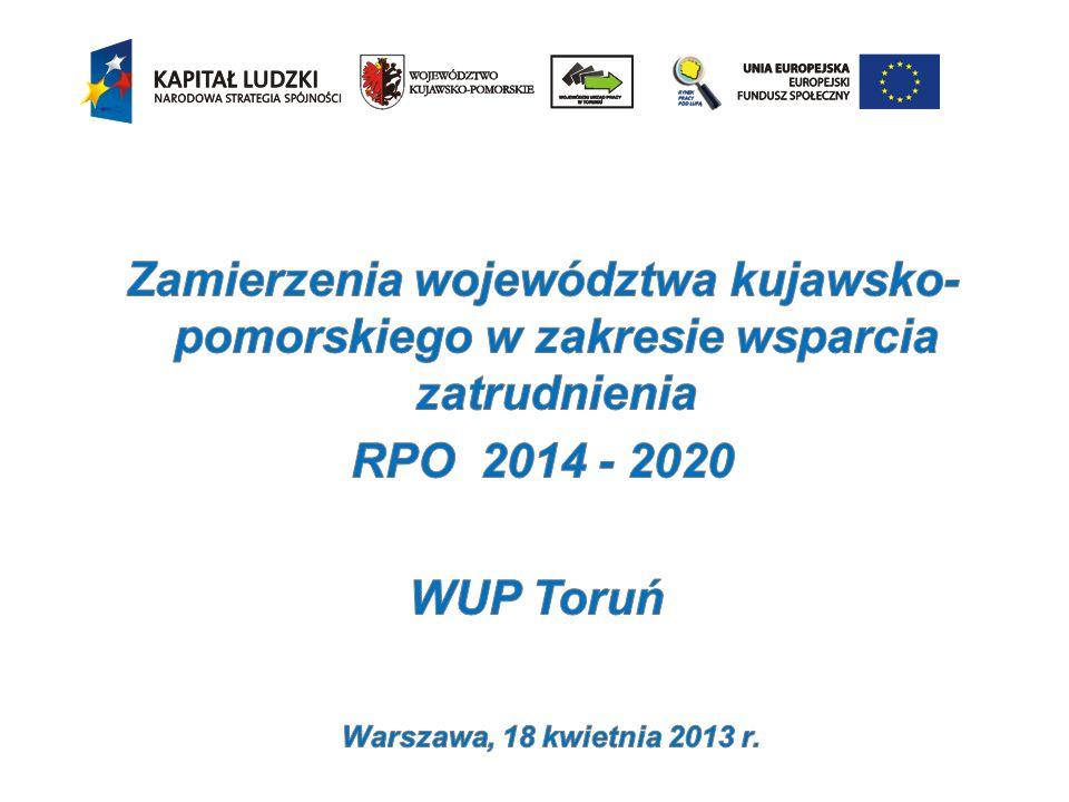 Zamierzenia województwa kujawsko-pomorskiego w zakresie wsparcia zatrudnienia