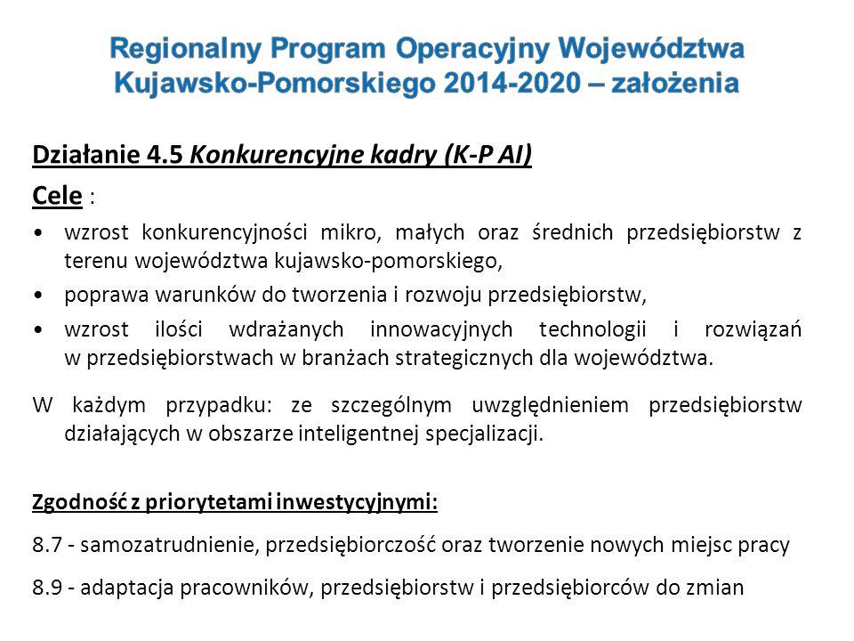 Działanie 4.5 Konkurencyjne kadry (K-P AI) Cele :