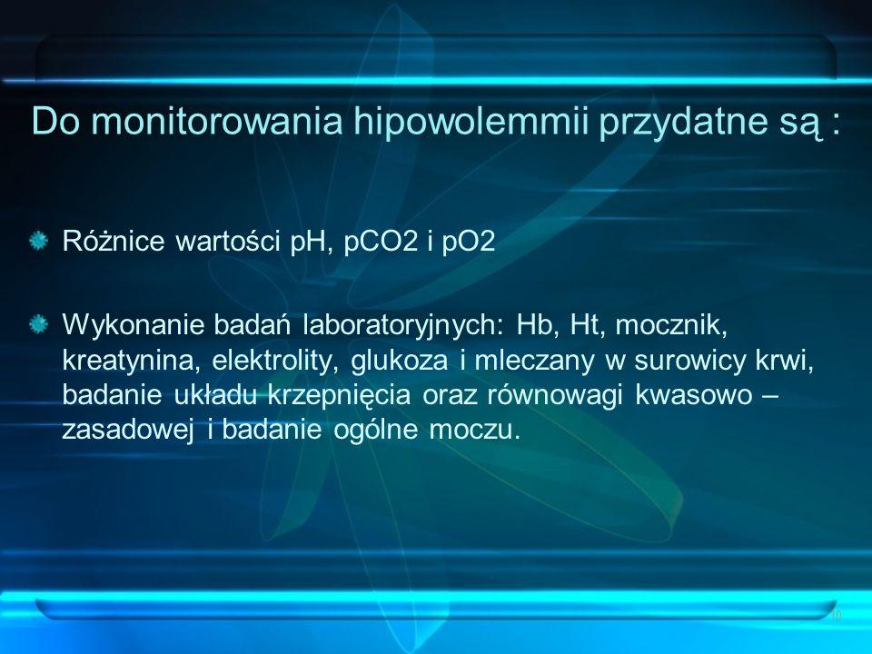 Do monitorowania hipowolemmii przydatne są :