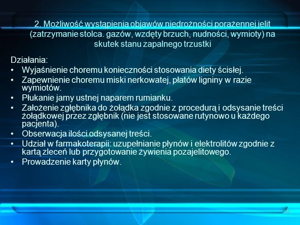 2. Możliwość wystąpienia objawów niedrożności porażennej jelit (zatrzymanie stolca. gazów, wzdęty brzuch, nudności, wymioty) na skutek stanu zapalnego trzustki