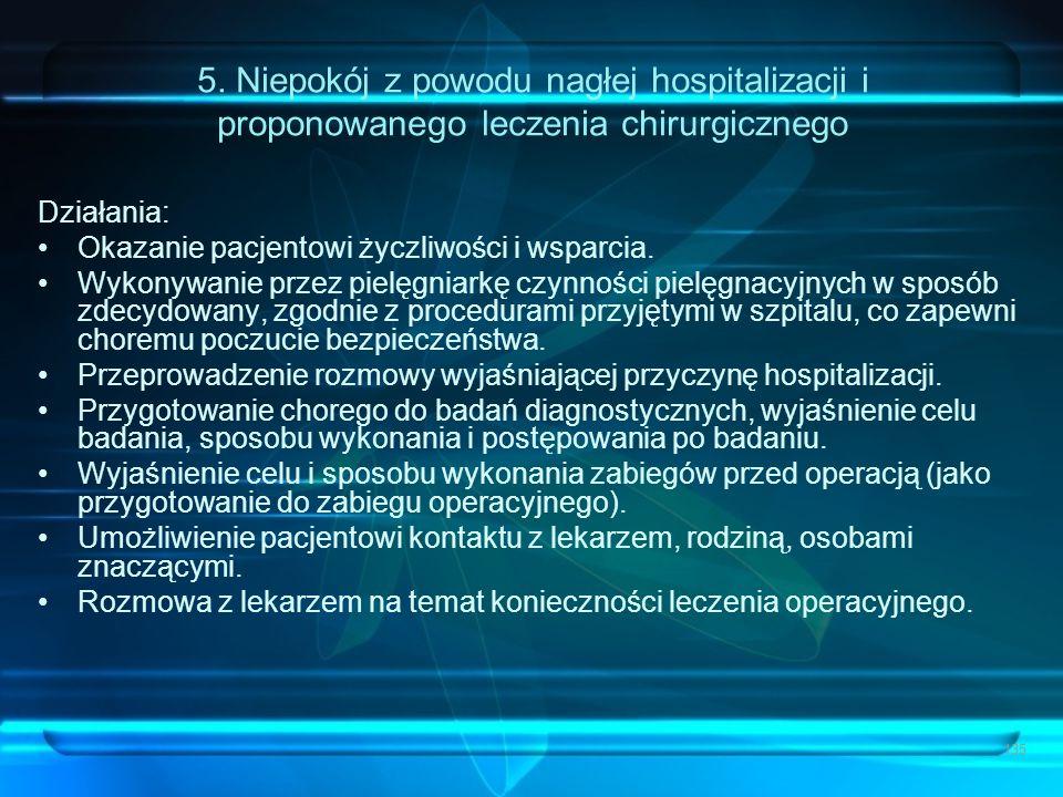 5. Niepokój z powodu nagłej hospitalizacji i proponowanego leczenia chirurgicznego