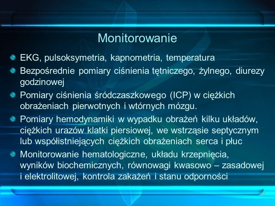Monitorowanie EKG, pulsoksymetria, kapnometria, temperatura