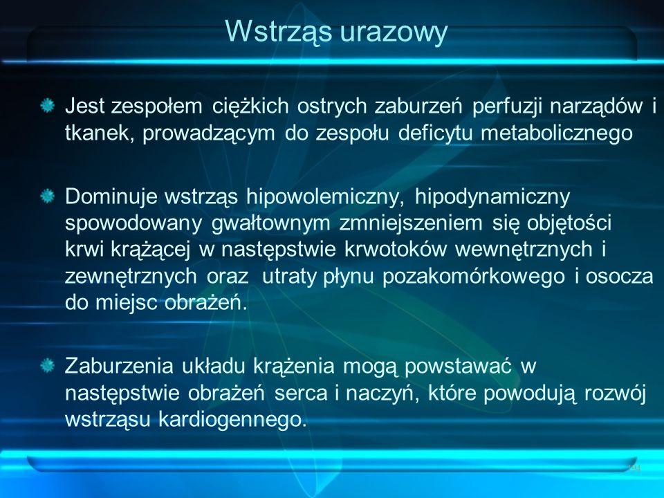 Wstrząs urazowy Jest zespołem ciężkich ostrych zaburzeń perfuzji narządów i tkanek, prowadzącym do zespołu deficytu metabolicznego.