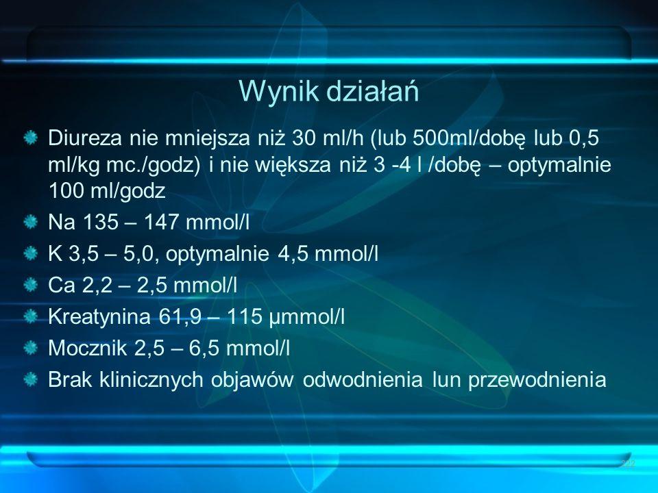 Wynik działań Diureza nie mniejsza niż 30 ml/h (lub 500ml/dobę lub 0,5 ml/kg mc./godz) i nie większa niż 3 -4 l /dobę – optymalnie 100 ml/godz.