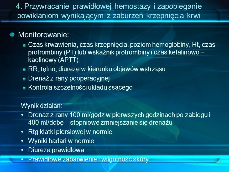 4. Przywracanie prawidłowej hemostazy i zapobieganie powikłaniom wynikającym z zaburzeń krzepnięcia krwi