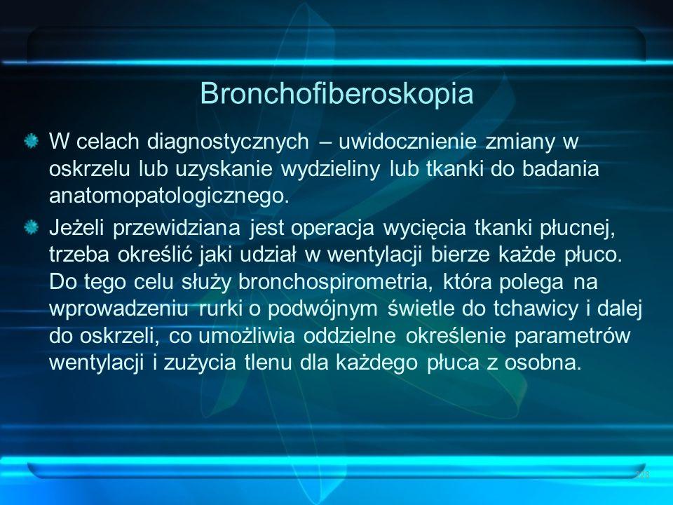 Bronchofiberoskopia W celach diagnostycznych – uwidocznienie zmiany w oskrzelu lub uzyskanie wydzieliny lub tkanki do badania anatomopatologicznego.