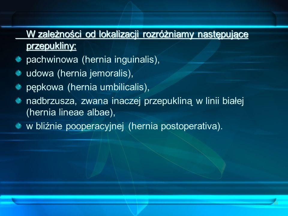 W zależności od lokalizacji rozróżniamy następujące przepukliny: