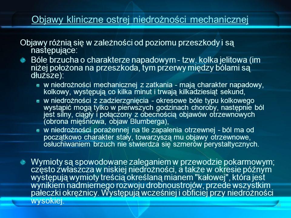 Objawy kliniczne ostrej niedrożności mechanicznej