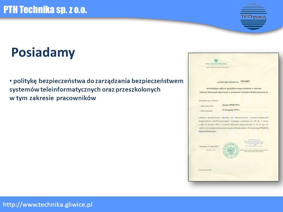 Posiadamy PTH Technika sp. z o.o.