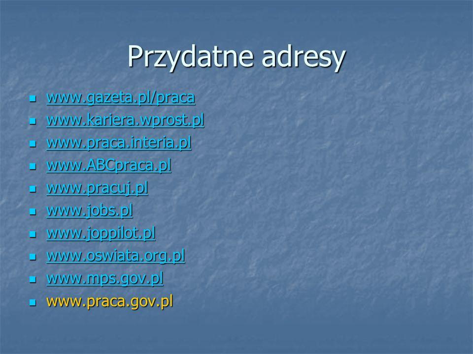 Przydatne adresy www.gazeta.pl/praca www.kariera.wprost.pl