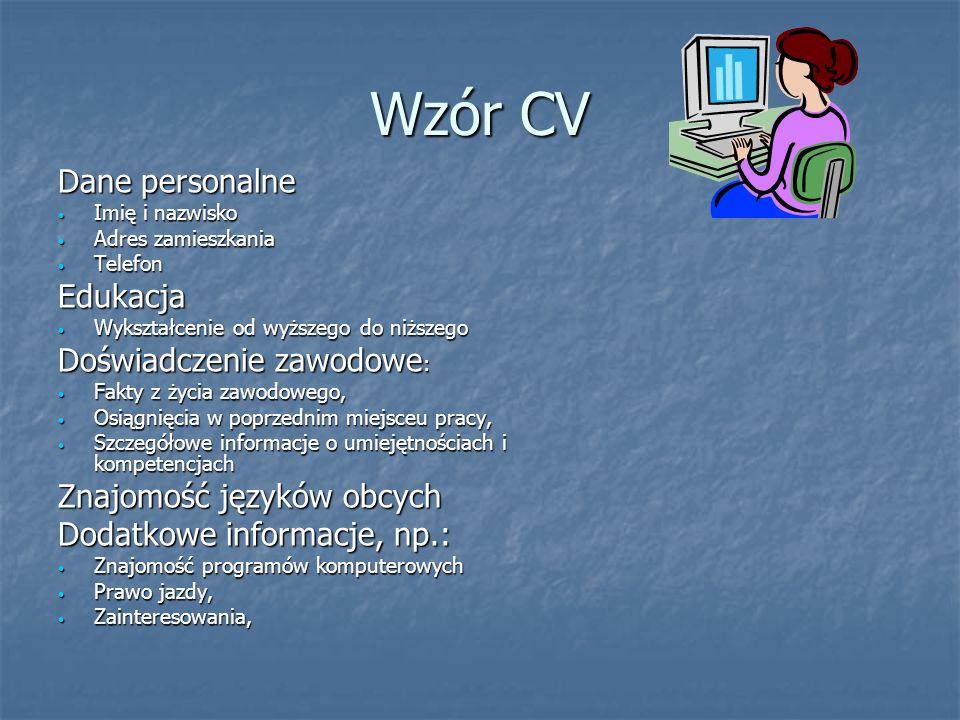 Wzór CV Dane personalne Edukacja Doświadczenie zawodowe:
