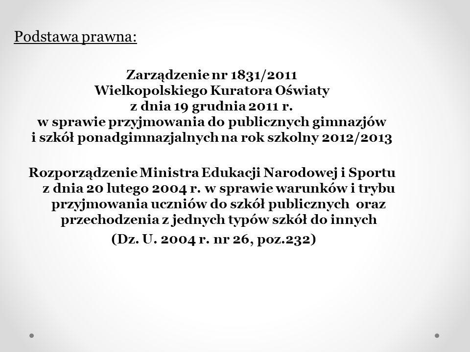 Podstawa prawna: Zarządzenie nr 1831/2011